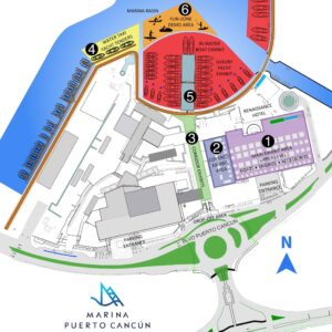 Map areas of the Cancun International Boat Show